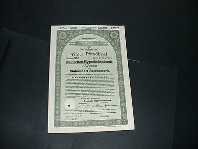 Original 1/11/39 Germany/weimar 100 Reichmarks /embossed  State Seal