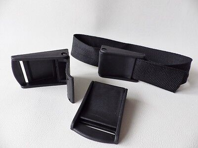 6 x Black Plastic Cam lever flap Buckles for 25mm Webbing