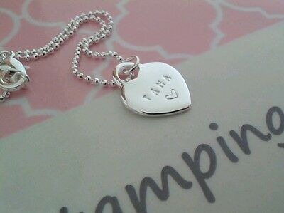 Personalised Hand Stamped Necklace - small locket pendant with ball chain