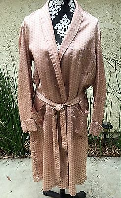 Vintage 50s Mens Robe Dressing Gown by Mister Ease Sz M Pink Paisley Silky Rayon