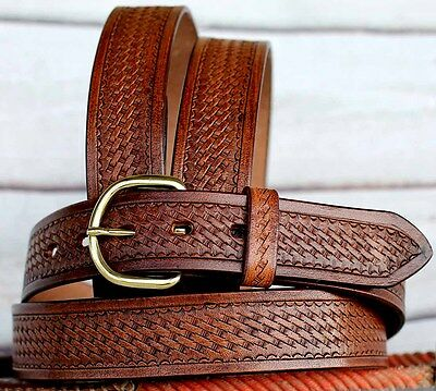 Tackrus Handmade Basket Weave Tool Heavy Duty Western Leather Mens Belt 2609Rs02