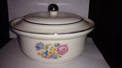 Vintage Harker Pottery Hotoven Petite Point Cross Stitch Covered Casserole Dish