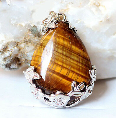Fashion Yellow Tiger's Eye Natural Gemstone 925 Silver Plated Jewelry Pendant