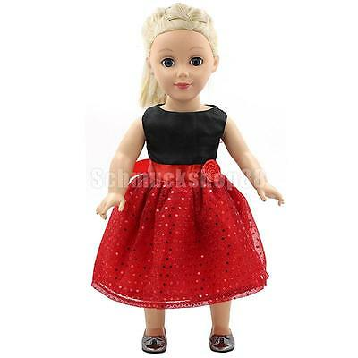 Red Sequins Dress Party Clothing for 18'' American Girl Dolls Our Generation