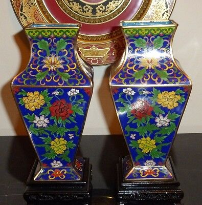 Circa Early 20Th Century Pair Of Chinese Republic Cloisonne Square Vases