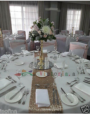 """Champagne Select Sequin Table Runner 12""""x108"""" Sparkly For Wedding Party Decor"""