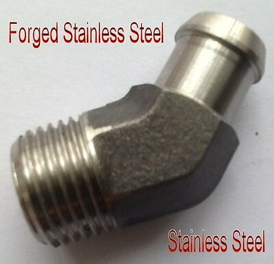"""Fitting 1/2"""" NPT to 5/8"""" Barb Hose ID Stainless Steel 45 Degree Heater Pipe L-5Z"""