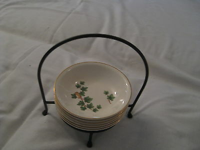 The Paden City Pottery Green Ivy Ice Cream Custard Bowls Set of 6 with Stand