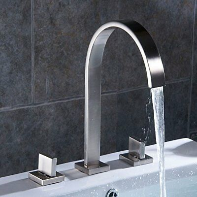Tall  Brushed Nickel Bathroom Basin Faucet Vessel Sink Mixer Waterfall Spout Tap