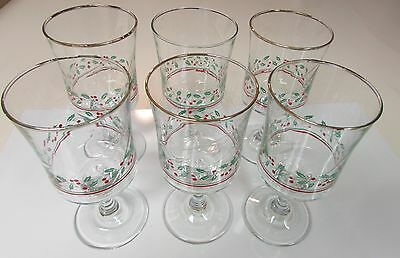 6 Arby's Christmas Holly Berry Stemmed Glasses Water Wine Eggnog