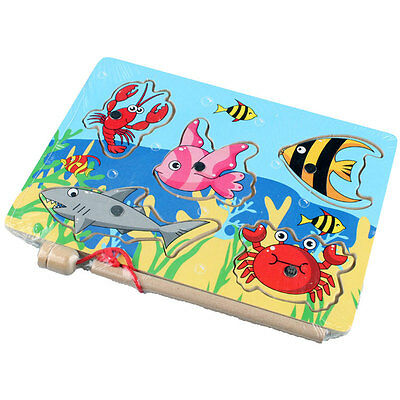 3D Magnetic Fishing Board Toy Wooden Mini Ocean Puzzle Educational Toys For