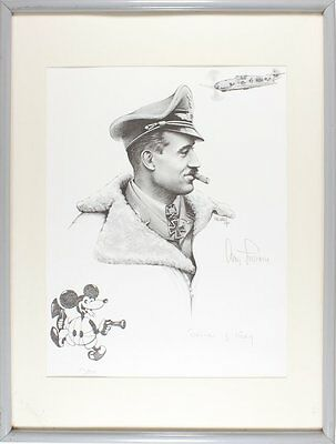 Adolf Galland WWII German Fighter Ace Lithograph Signed