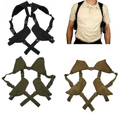 Ajustable Horizontal Tactical Shoulder Hand Toy Gun Holster Double Mag Pouch New
