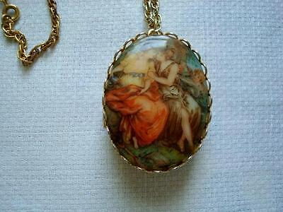 Vintage Double Sided Fragonard Style Locket Necklace With Cherub and Ladies