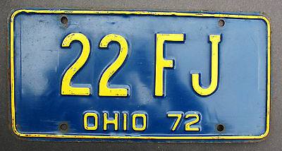 License Plate Ohio Usa 1972 #22 Fj Blue And Yellow