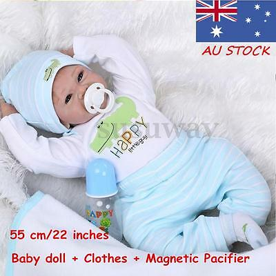 "22"" Realistic Handmade Real Looking Newborn Baby Vinyl Silicone Reborn Doll Gift"