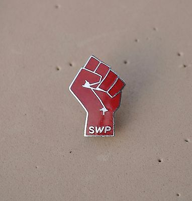 SWP Socialist Workers Party Red Fist pin badge  SWP Political collectible