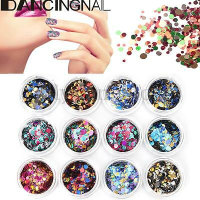 12Pcs Ultrathin Glitter Sequins Multi Color Round Nail Art Decoration Manicure