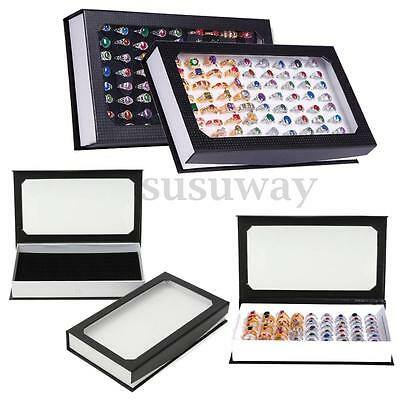 72 Ring Jewellery Display Storage Box Tray Show Case Organiser Earring Holder
