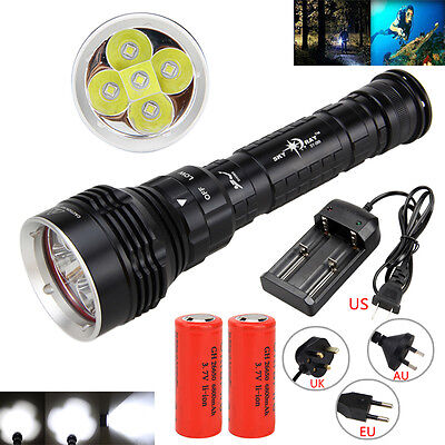 8000Lumen Underwater 100M 5x XM-L2 LED Diving Flashlight Torch 18650/26650 Lamp