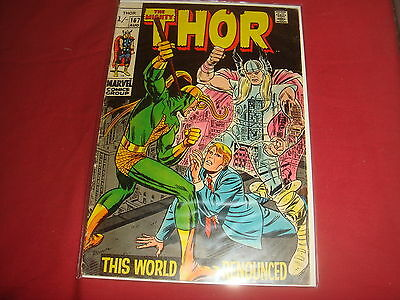 THE MIGHTY THOR #167  Jack Kirby Silver Age Marvel Comics 1968 VG