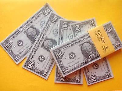100 x $100 BILLS. Fun/Play/Fake Money/Dollars/Party/Casino/Stag/Hen/Decorations