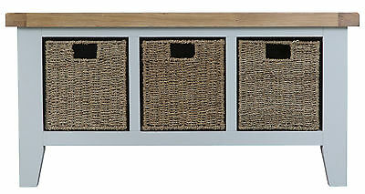 Hartwell Grey Painted Large Hall Bench / Monks / Shoe Storage 100cm 35cm 50cm