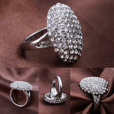 Stylish Women Silver Wedding Ring Engagement Rings Crystal Jewelry Size 6-10