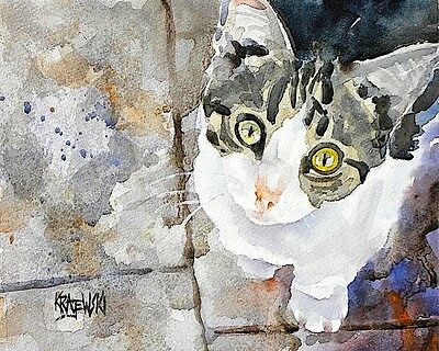 Tabby Cat 8x10 signed art PRINT from painting RJK