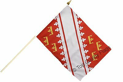 "France Alsace new HAND WAVING FLAG 30x45cm – 18""x12"" Stick included"
