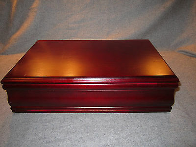 Wooden Mahogany Hinged Tea Caddy Chest with 8 Divided Slots