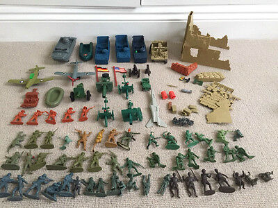 1970s/80s plastic soldiers & army vehicles including tanks/aircraft/canons/boats