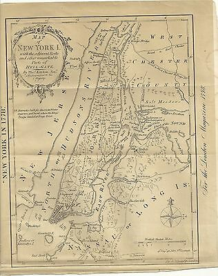 "MAP;    ""NEW YORK ISLAND IN 1778 by THOMAS KITCHIN""    from SHANNONS MANUAL 1869"