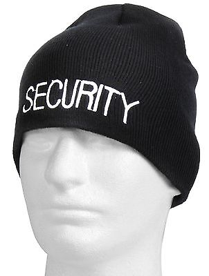 Embroidered SECURITY Winter Skull Cap - Rothco Black Acrylic Warm Ski Hat 56560