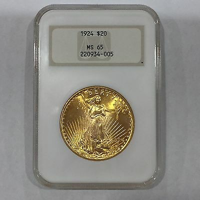 1924 $20 NGC MS65 Saint Gaudens Double Eagle Gold Coin