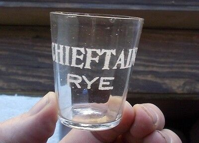 Chieftain Rye Paneled Pre Pro Whiskey Advertising Shot Glass 1908 Era Pittsburgh