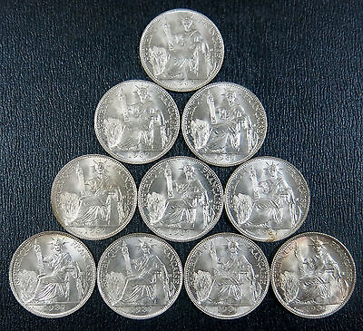 French Indochina Indochine 1937 20 Cent Silver Coin. BU Condition, lot 10 coins