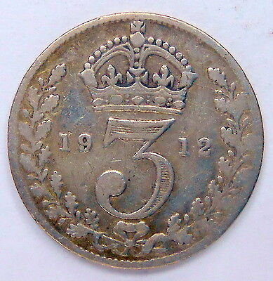 1912 Great Britain 3 Pence VG Nice 2nd Year George V UK SILVER Threepence Coin