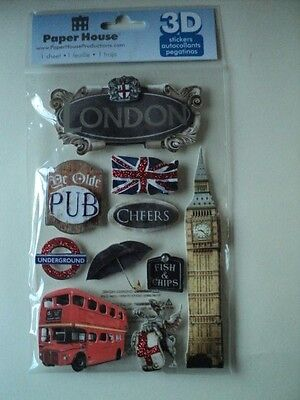 Paper House London 3D Stickers Bnip *new*