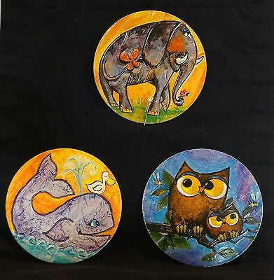 Three (3) Cardboard Circle Pictures from Folgers Coffee lid   - probably 1970's