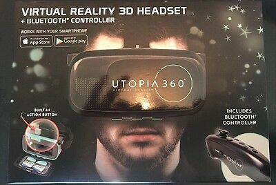 New Utopia 360 Virtual Reality 3D Headset! iPhone / Android! W/ BlueTooth Remote