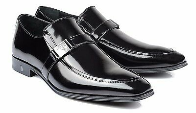 Versace Collection Medusa buckle Patent Leather Dress Shoes Loafers V323 Black
