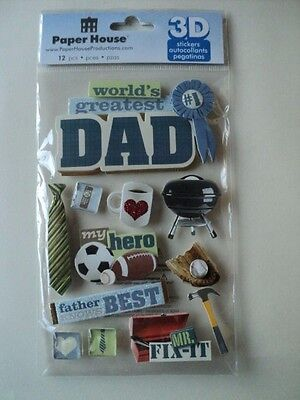 Paper House World's Greatest Dad 3D Stickers Bnip *new*