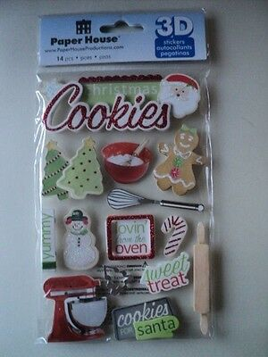 Paper House Christmas Cookies 3D Stickers Bnip *new*