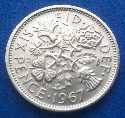 "1967 Queen Elizabeth Ii ""lucky Tanner"" Sixpence 50Th Birthday / Anniversary"