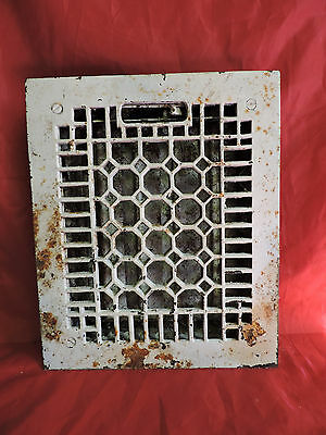ANTIQUE LATE 1800'S CAST IRON HEATING GRATE HONEYCOMB DESIGN 11.5 x 9.5""