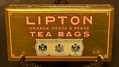Vintage Lipton's Orange Pekoe & Pekoe Tea Bags metal advertising tin