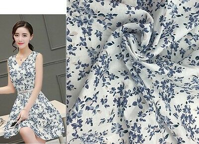 Linen Cotton 58/42 White Navy Blue with Pink Mini Flower Print Fabric