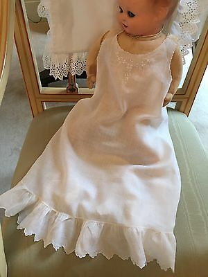 Antique Baby Dress Slip Petticoat, Handsewn Hand Embroidered Scalloped Victorian