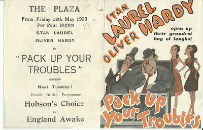 Original Movie Herald -1933  Pack Up Your Troubles - Laurel - Hardy